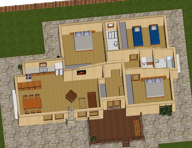 Spacious newly built 3 bedroom house with wooden design for Layout design for 3 bedroom house