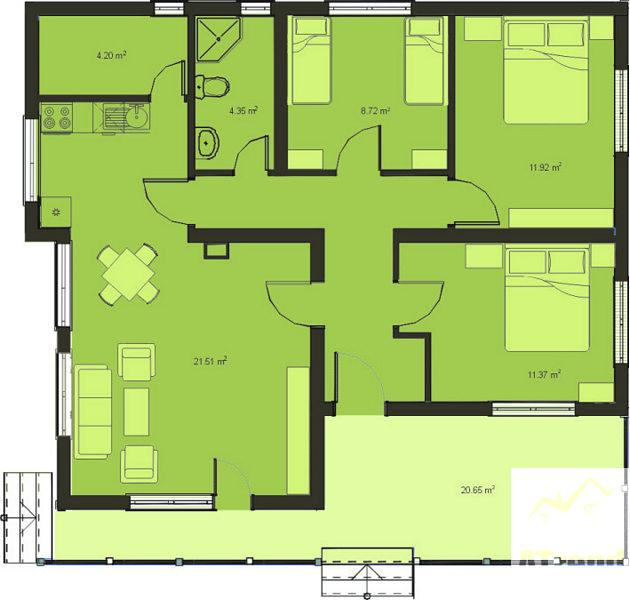 Plans dezignes more wood bench house plans 3 bedroom Three bedroom floor plan house design